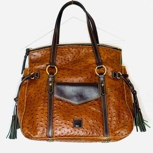 Dooney & Bourke Purse Bag Tan Leather Ostrich Sac